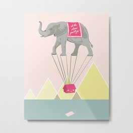 Fly Elephant Oh the places you'll go Metal Print
