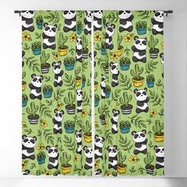 Little Panda Print, Baby Panda, Panda Bear, Boho Panda, Succulents and Flower Blackout Curtain