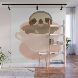 Sloth in a Pink cup coffee, tea, Three-toed sloth Wall Mural