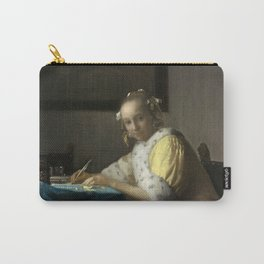 A Lady Writing Oil Painting by Johannes Vermeer Carry-All Pouch