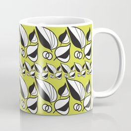Abstract Floral Graphic Black and Yellow Coffee Mug