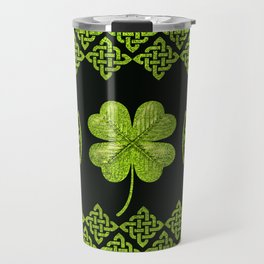 Irish Shamrock Four-leaf clover with celtic decor Travel Mug