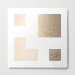 Simply Geometric in White Gold Sands on White Metal Print