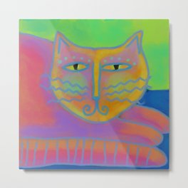 Colorful Abstract Cat Digital Painting  Metal Print