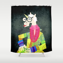Iris the Unicorn of Fashion Shower Curtain
