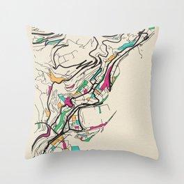 Colorful City Maps: Monaco Throw Pillow