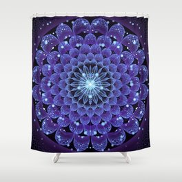 Accordant Electric Blue Fractal Flower Mandala Shower Curtain