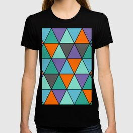 Blue, Purple, Orange and Grey Cool Triangles Pattern T-shirt