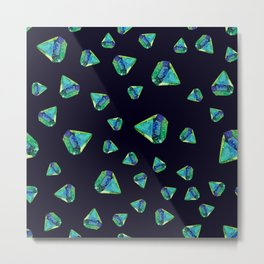 Watercolor illustration of diamond crystals Metal Print