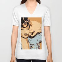 rihanna V-neck T-shirts featuring Rihanna  by GOLDY