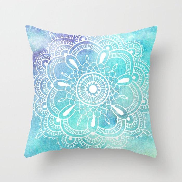 Galaxy Mandala - Watercolor Throw Pillow