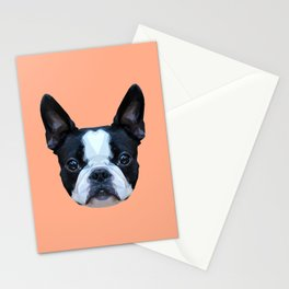 Frenchie / Boston Terrier // Peach / Apricot Stationery Cards