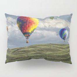 Hot Air Balloons over Green Fields Pillow Sham