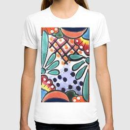 Colorful Talavera, Orange Accent, Mexican Tile Design T-shirt