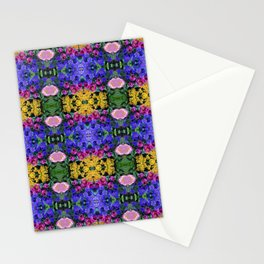 Floral Spectacular: Blue, Plum, Gold - square repeating pattern, Olbrich Botanical Gardens, Madison Stationery Cards