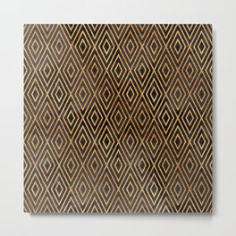 Black and Gold Abstract Metal Print