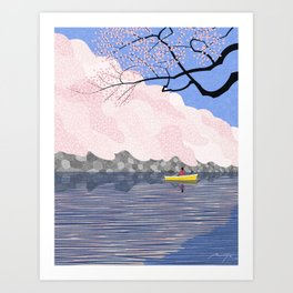 A boat among the cherry blossoms Art Print
