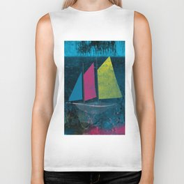 little boat in the ocean Biker Tank
