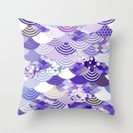 Nature background with japanese sakura flower, Cherry, wave circle. Ultra Violet Color of the Year Throw Pillow