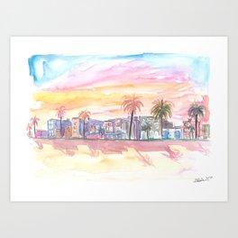 Venice Beach California Waterfront View at Sunset Art Print