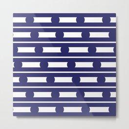 Geometric Stripe and Spot Navy Blue Metal Print