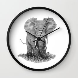 Elephant illustration - Keep Wildlife In The Wild Wall Clock