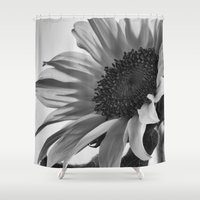 stiles Shower Curtains featuring Sunflower Black & White by 2sweet4words Designs