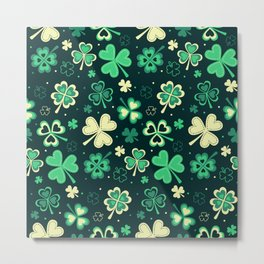 Dark green Shamrock heart leaf Metal Print