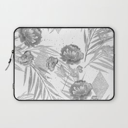 Gray flowers on a white background. Laptop Sleeve