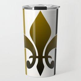 Black and gold fleur de lis Travel Mug