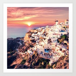 Santorini Sunset View Art Print