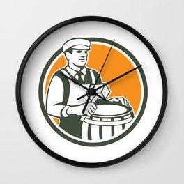 Cooper Barrel Maker Drum Retro Circle Wall Clock