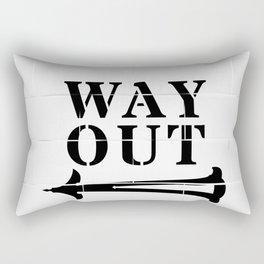 Way Out Sign, Subway Tiles, Left Arrow. Humour, Comedy. Rectangular Pillow