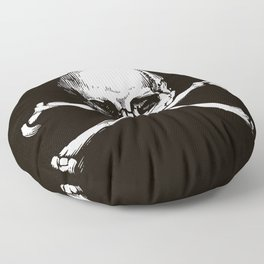 Skull and Crossbones | Jolly Roger | Pirate Flag | Black and White | Floor Pillow