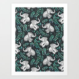 Laughing Baby Elephants – emerald and turquoise Kunstdrucke