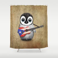 puerto rico Shower Curtains featuring Baby Penguin Playing Puerto Rican Flag Guitar by Jeff Bartels