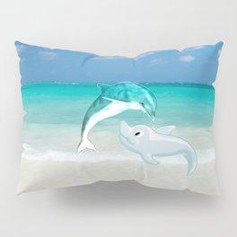 Tropical turquoise sand beach cute nautical animals Pillow Sham