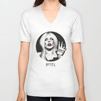 budapest hotel V-neck T-shirts featuring Hotel by Helen Green