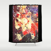 koi fish Shower Curtains featuring Koi Fish by Georgiart