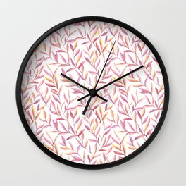 Lavender And Amber Leaves Pattern Wall Clock