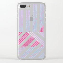 Geometrical abstract pink teal lilac watercolor stripes Clear iPhone Case