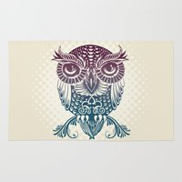 egyptian Area & Throw Rugs featuring Baby Egyptian Owl by Rachel Caldwell