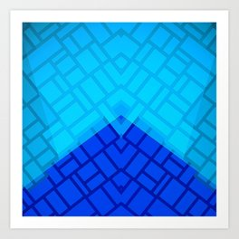 Blue Brick Two Tone Pattern Art Print