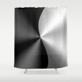 Black & Silver Metallic Geometric Design Shower Curtain
