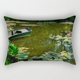 Boat in Lily Pond, Giverny, France, 2015. Rectangular Pillow