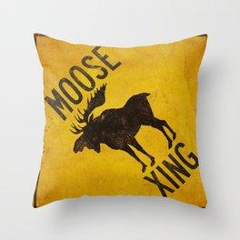 Moose Crossing XING Throw Pillow