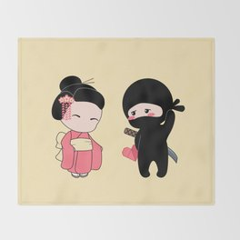 Tiny Ninja and Geisha Throw Blanket