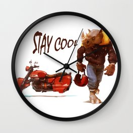 Vintage Sport Men Rhino Motorcycle Stay Cool Graphic Wall Clock