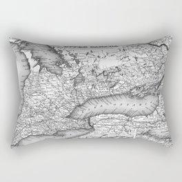Vintage Map of Ontario (1857) BW Rectangular Pillow