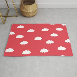 White clouds in red background Rug